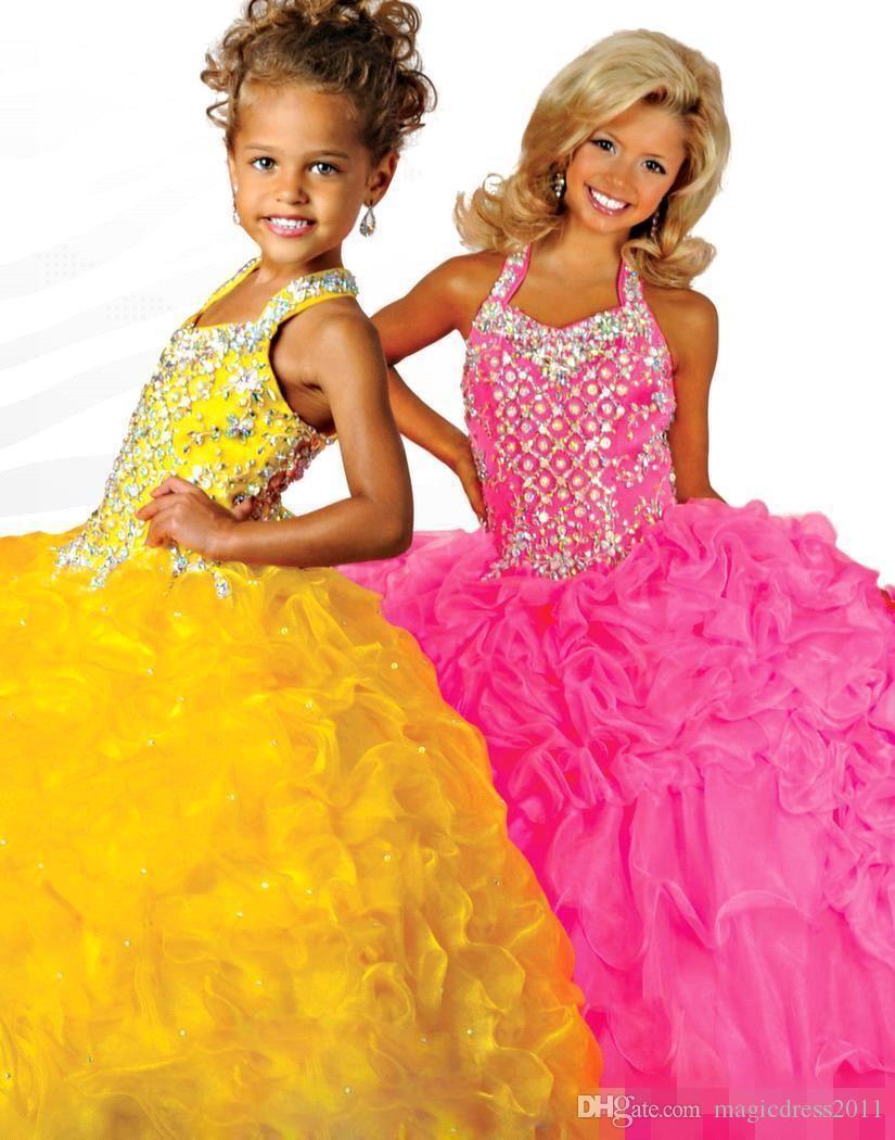 Nueva llegada 2019 organza vestido de fiesta glitz girls vestidos del desfile de organza de tuberías sin espalda rosa amarilla vestidos de niña de flores de longitud completa Barato
