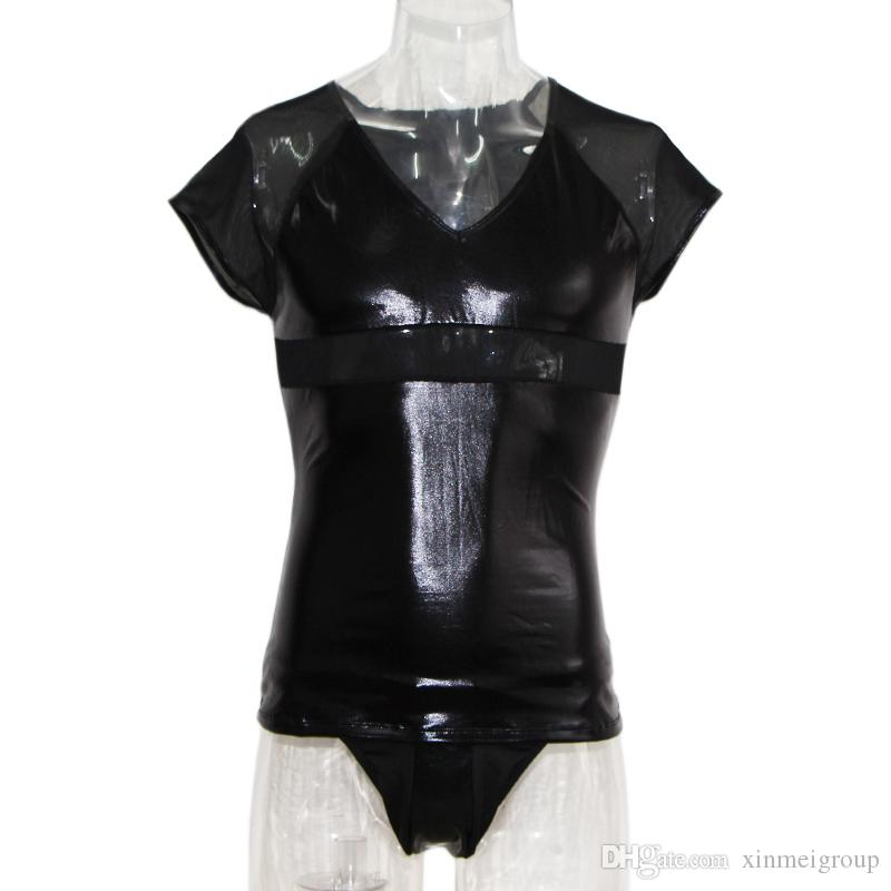 Sexy Men Vinyl Lingerie Set Black Faux Leather Short Sleeve Tank Top Low Waist G-String Underwear Set Male Erotic Lingerie W860828