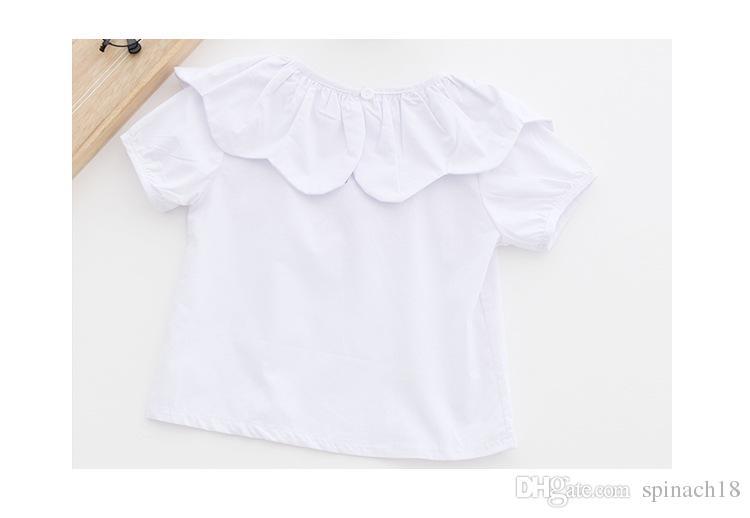 2017 muchachas del verano blusa sol collar de flores camisa de algodón niños blusas niños niña remata la ropa 3209
