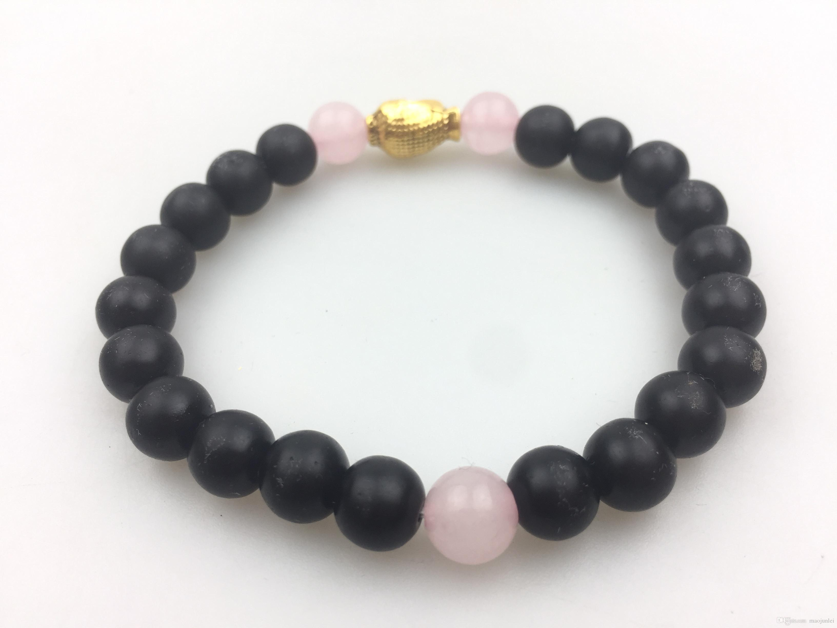 Natural Stone 8MM Matte Black Onyx Rose Quartz Bracelet Buddha Bracelet Gold Buddha Round Bead Bracelets Yoga Bracelets Mala Beads Fashion
