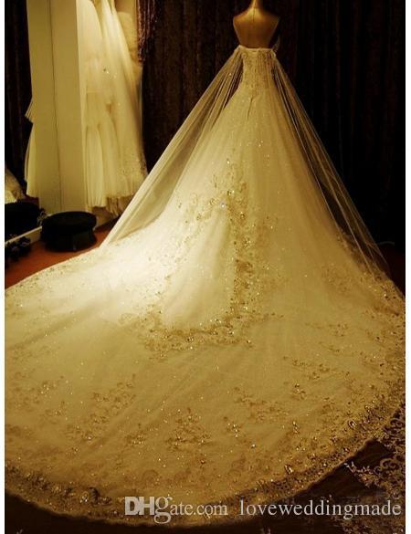 2017 Luksusowy Kryształ Linia Suknie Ślubne Aplikacja Koronki Sweetheart Katedra Lace-Up Back Shiny Suknie Ślubne Custom Made