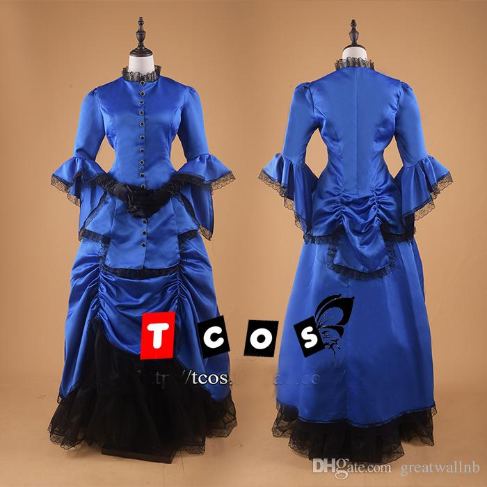 18th Century Royal Blue Black Lace Ball Gown Cosplay Medieval Dress ...