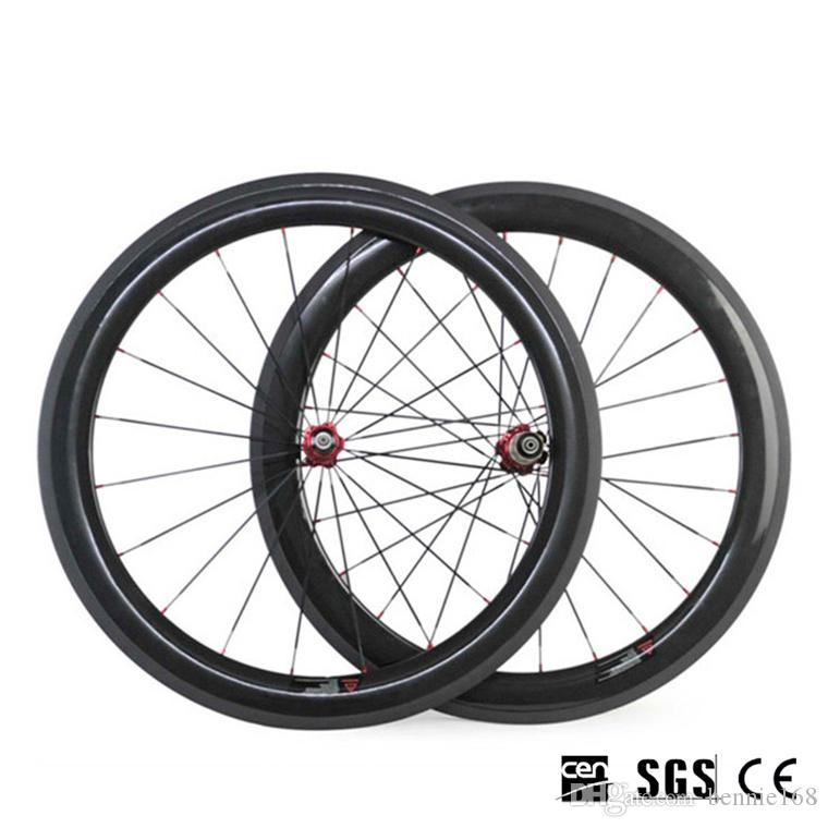 60mm 700C Full Carbon Road Bike Bicycle Wheels Wheelset Clincher Tubular 3K UD Glossy Matte Red Novatec 271 Hubs