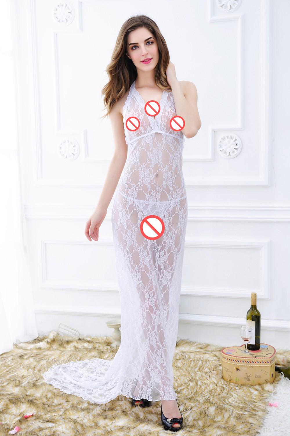a7b9076943ee 2019 Women Underwear Nightwear Erotic Lingerie V Collar Backless Maxi Hot  Transparent Lace Dress Long Sexy Night Dresses Nightgowns From Jessicazeng