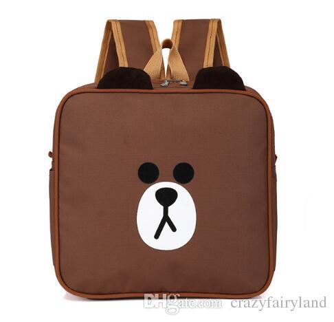 Cute Cartoon Korea Brown Bear Kids Backpack School Bag Pack Oxford ...