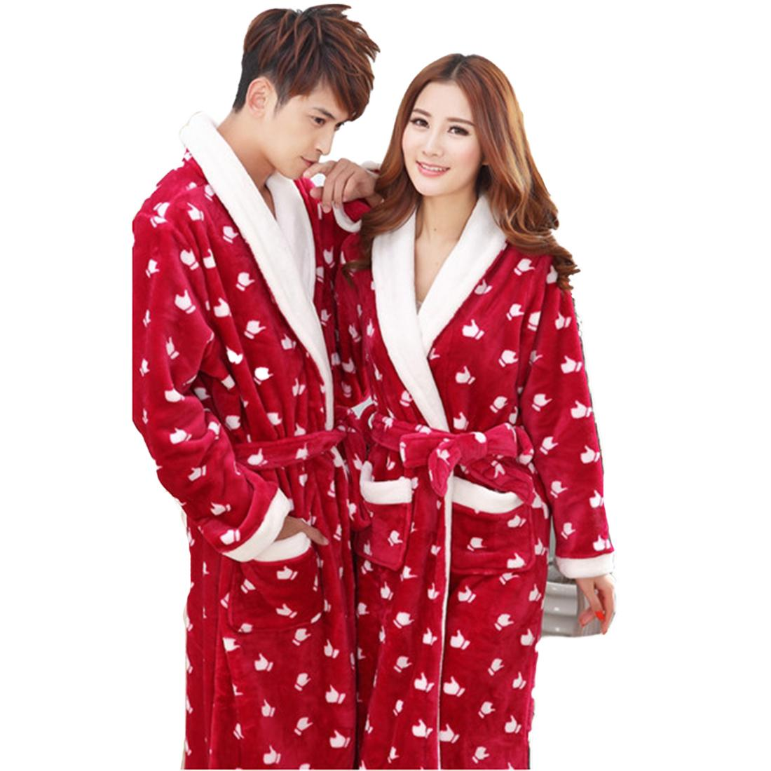 b47bbcdf27 2019 Wholesale 2XL Knee Length Flannel Bathrobe Women Winter Leopard Robes  Men Thicken Warm Sleepwear Homewear Belted Coral Bath Robe Pockets From  Oott