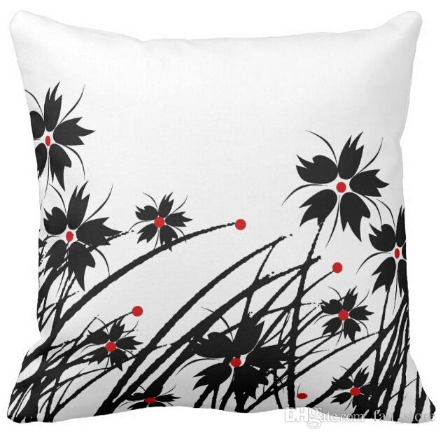 "1 Square Pillow Case Floral Red Black White Sofa Cushions Cover, ""16inch 18inch 20inch"", Pack of X"