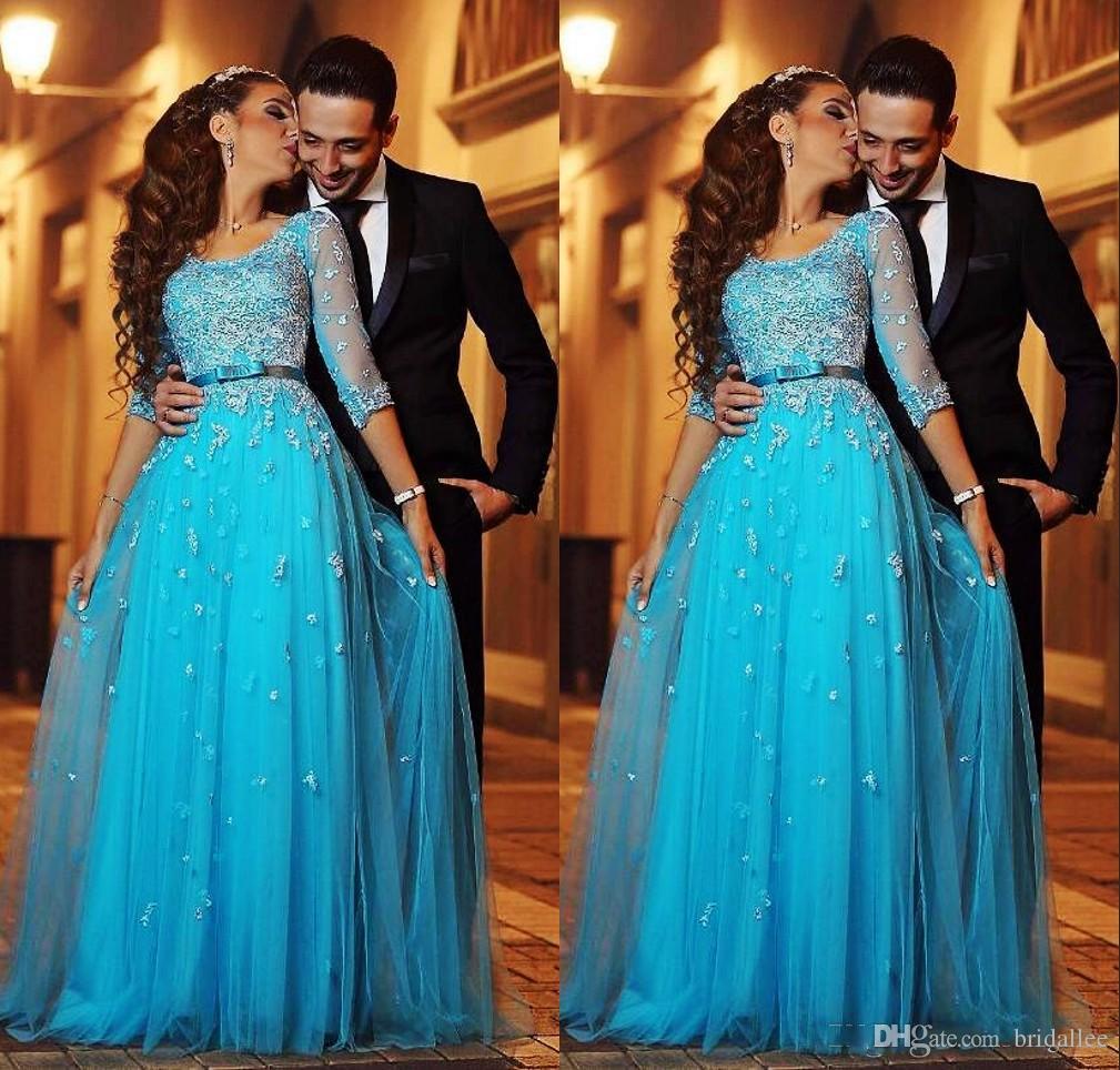 Zarif Mavi Dantel Arapça Abiye Yarım Kollu A-line Tül Gelinlik Modelleri Vintage Ucuz Örgün Abiye giyim