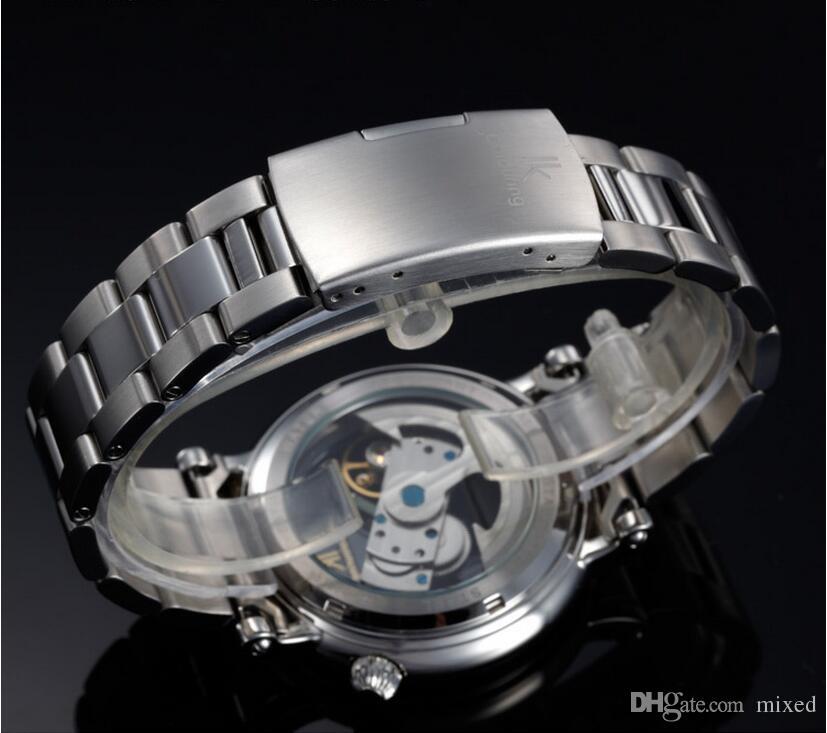 IK 컬러링 98399G - S 자동 기계식 시계 망 더블 중공 남자 방수 시계