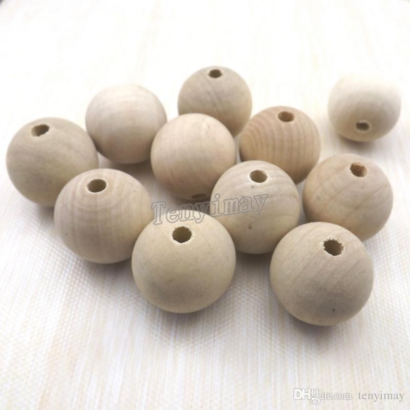 30MM الخشب الخرز جولة اللون الأصلي للطلاء DIY النتائج الخشب الأزياء / Shippng مجانا