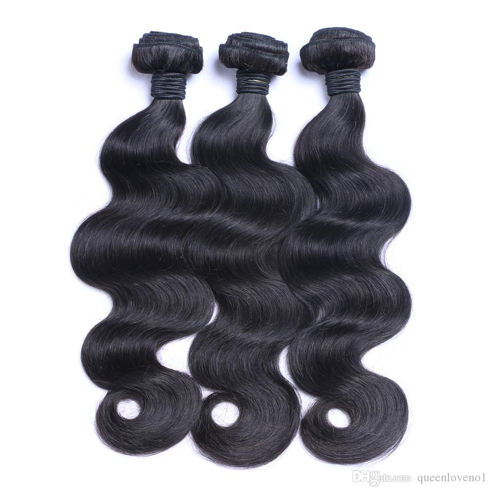 Brazilian Body Wave Hair Weaves 3Bundles with Lace Closures Free Middle 3 Part Double Weft Human Hair Extensions Dyeable 100g/pc No Shedding