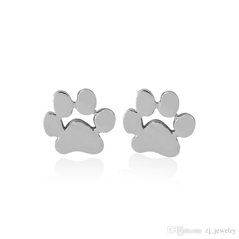 creux chat chat amoureux de chien empreinte de patte boucles d'oreille Puppy Memorial minimaliste boucle d'oreille mignon empreinte animale or argent plaqué boucles d'oreilles