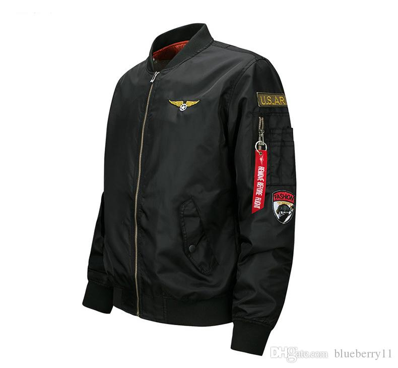 블랙 폭격기 재킷 비행 조종사 재킷 망 캐주얼 비행 코트 긴 소매 슬림 맞는 옷 자수 플러스 크기 M-6XL