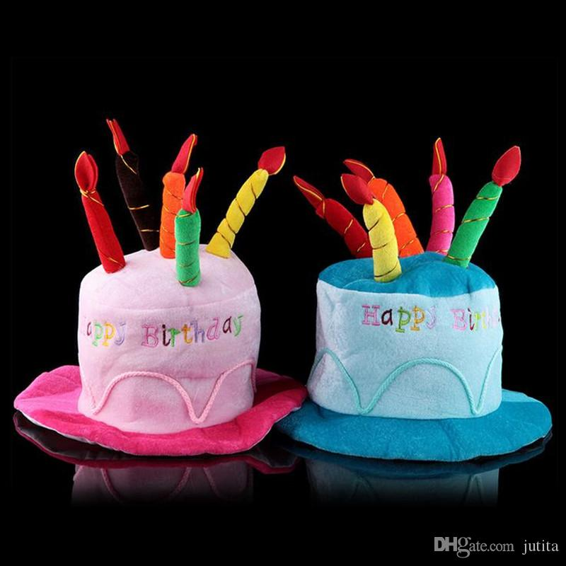 Pink Blue Birthday Cake Cap Hat Cake Candles Caps Kids Adults Head