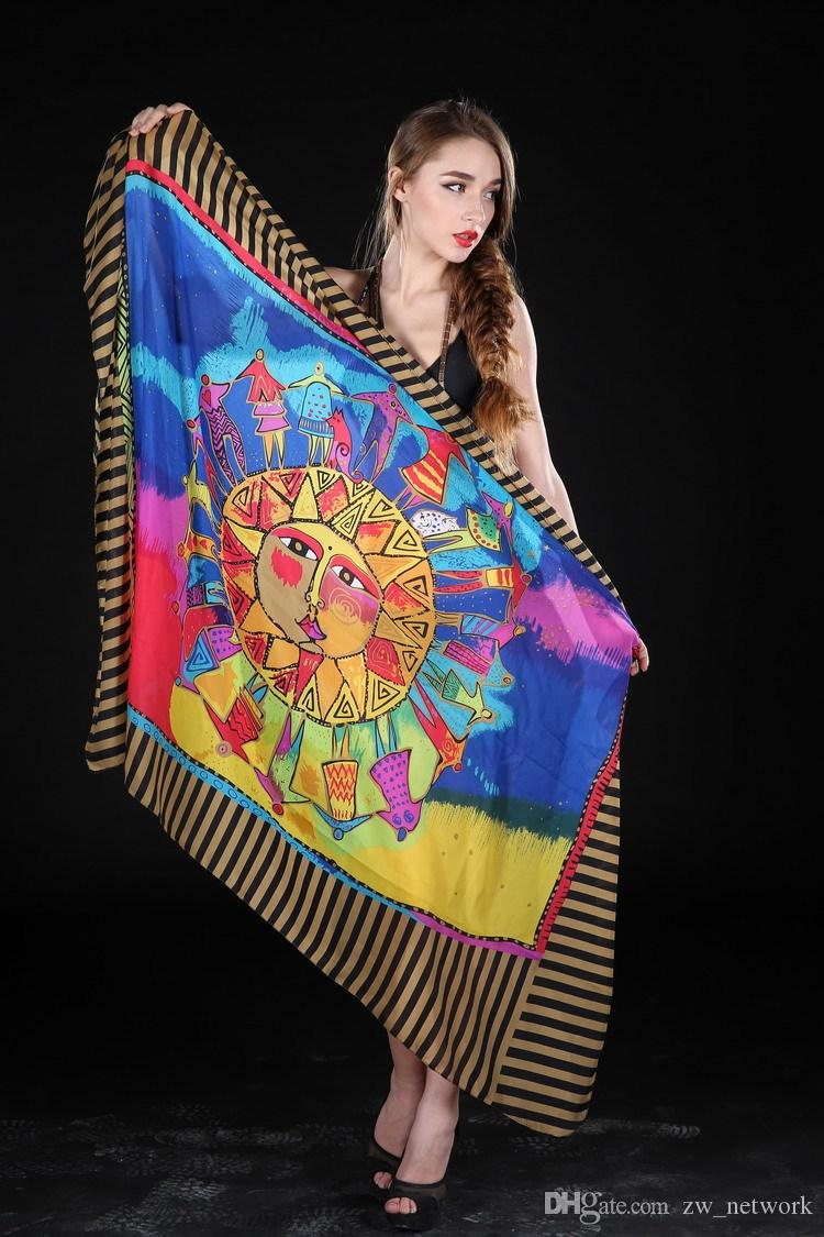 Hot Summer women Chiffon beach sarongs scarves colorful Beach shawl cover up women's wrap for Swimsuit cover up Swimwear