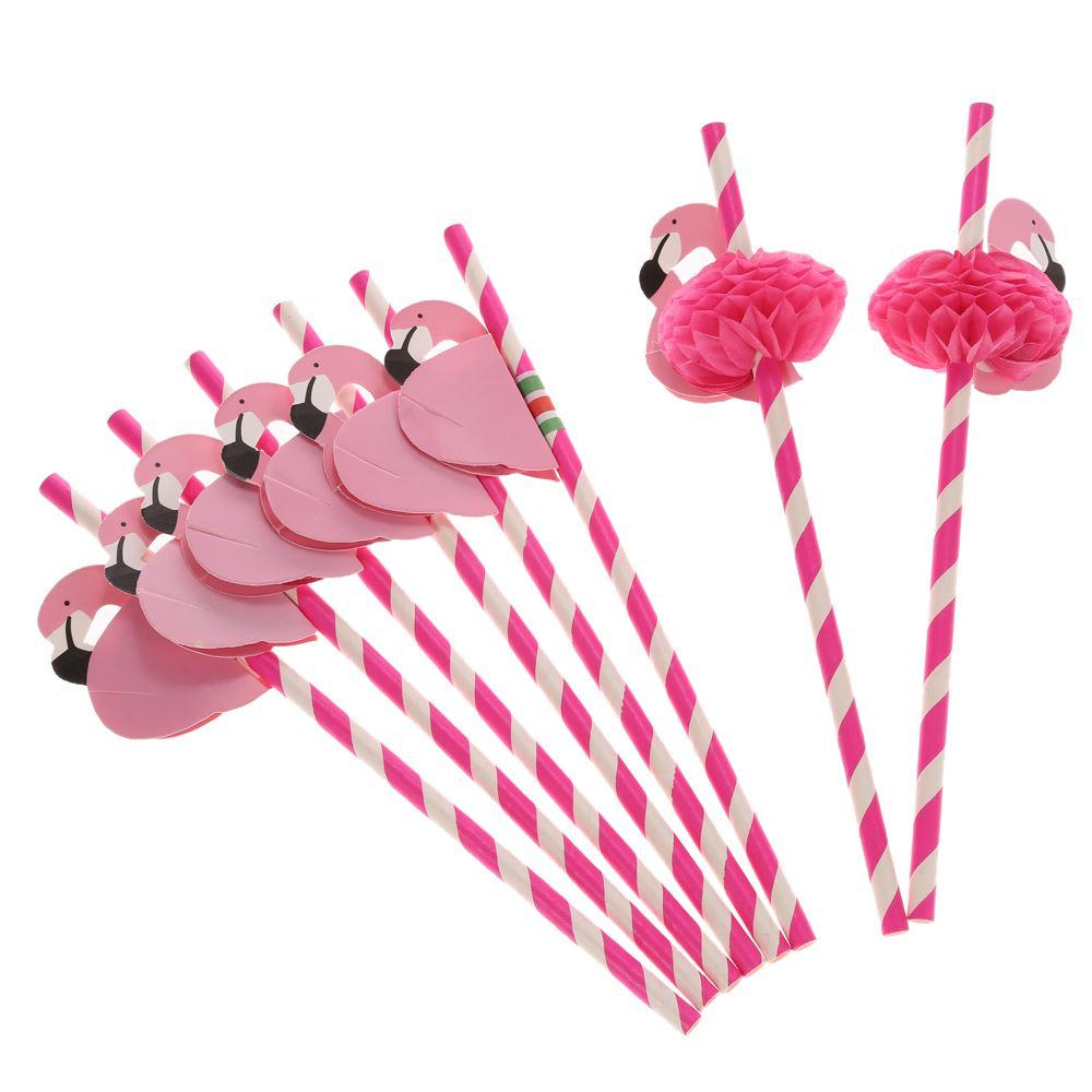 50pcs/set Paper Straws for Birthday Wedding Baby Shower Celebration and Party Food Grade Paper Straws with Flamingo Decorated