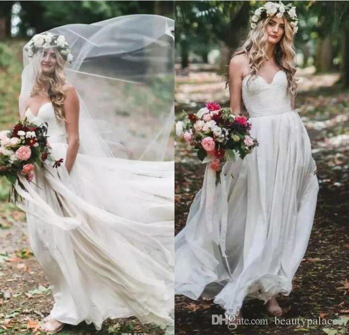 Discount 2018 Bohemian Beach Country Wedding Dresses Sweetheart Lace ...