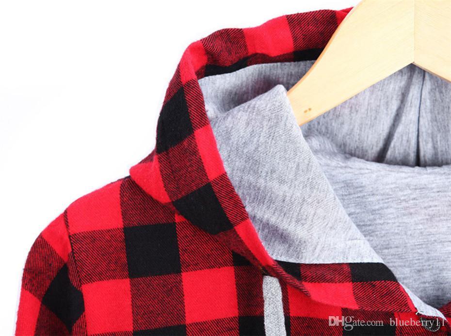 Mode Femmes Printemps Automne Rouge Bleu Coton Bouton Décontracté Sweat À Capuche Oversize Manteau Dames À Manches Longues Plaid Hoodies Plus 2XL