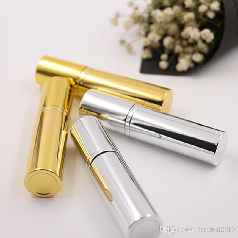 Parlak Altın Gümüş 5 ml Doldurulabilir Taşınabilir Mini parfüm şişesi Gezgin Alüminyum Sprey Atomizer Boş Parfüm Sprey Atomizer Konteyner
