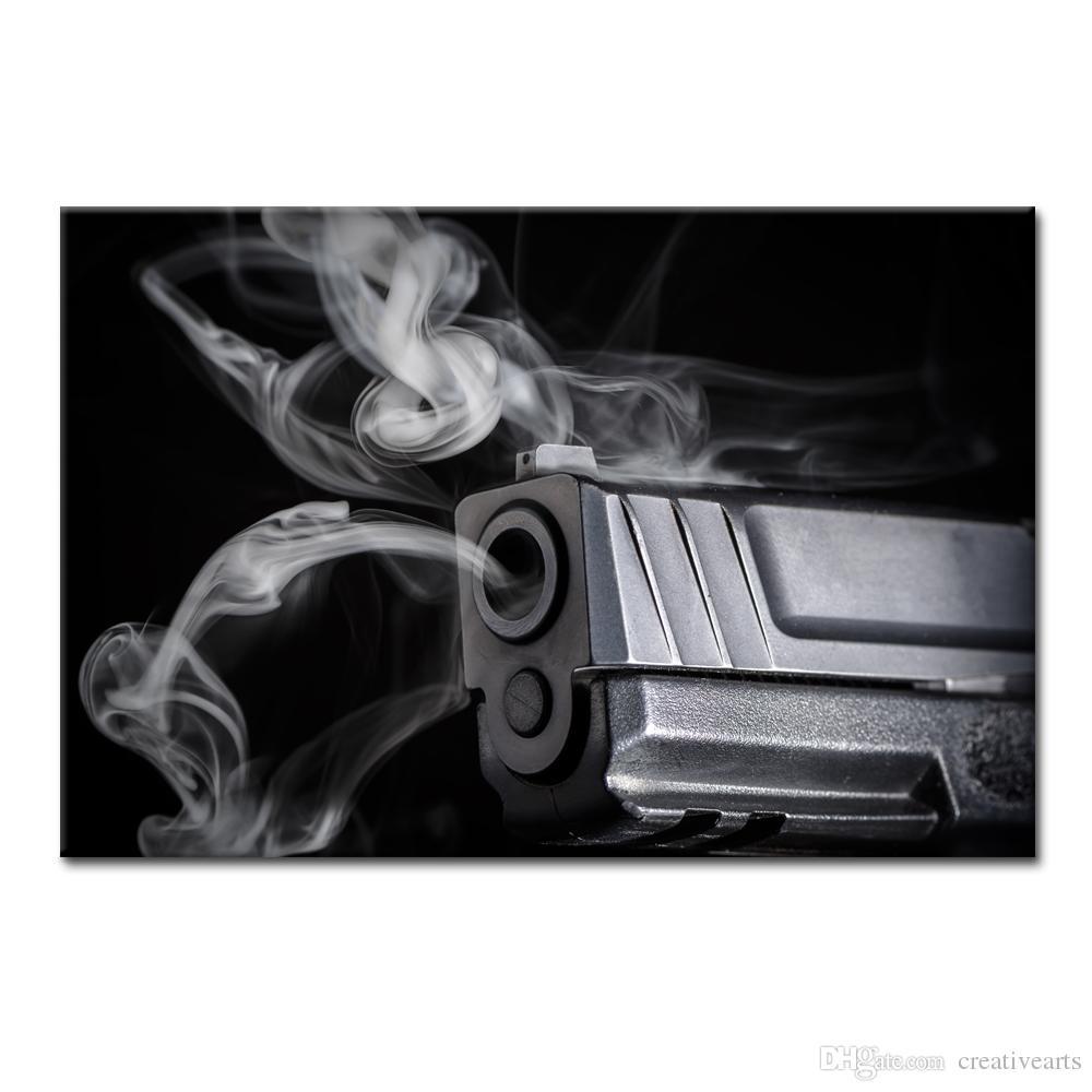 Hd photo canvas art prints black and white photo smoking gun giclee printing wall art decor sjmt1878 canvas wall decor canvas printing canvas painting