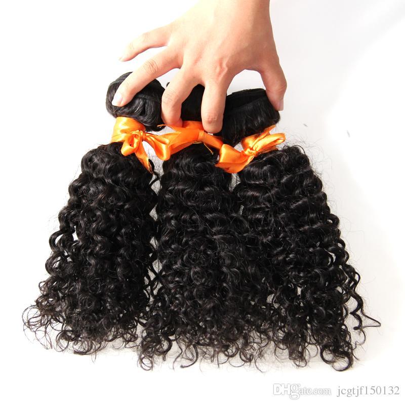 Cabelo Remy brasileiro Kinky Curly Bundles Cor Natural Tecelagem Do Cabelo 3 pacotes de Trama Dupla, nenhum derramamento, emaranhado livre