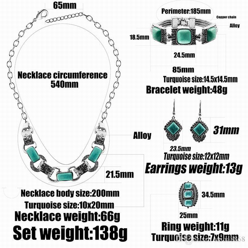 Серебряный племенной бохо геометрические бирюзовый кулон ожерелье серьги браслет для женщин ретро ювелирные наборы Оптовая