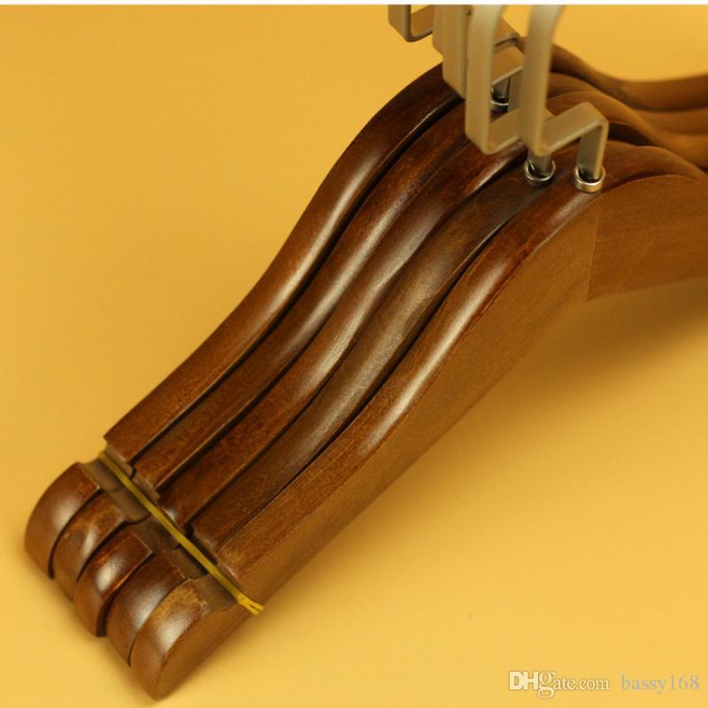 Retro Color 24CM/27CM/32CM Wood Hanger for Children Baby Clothes Coat with Anti-slip Chrome Flat Hook Wooden Hangers