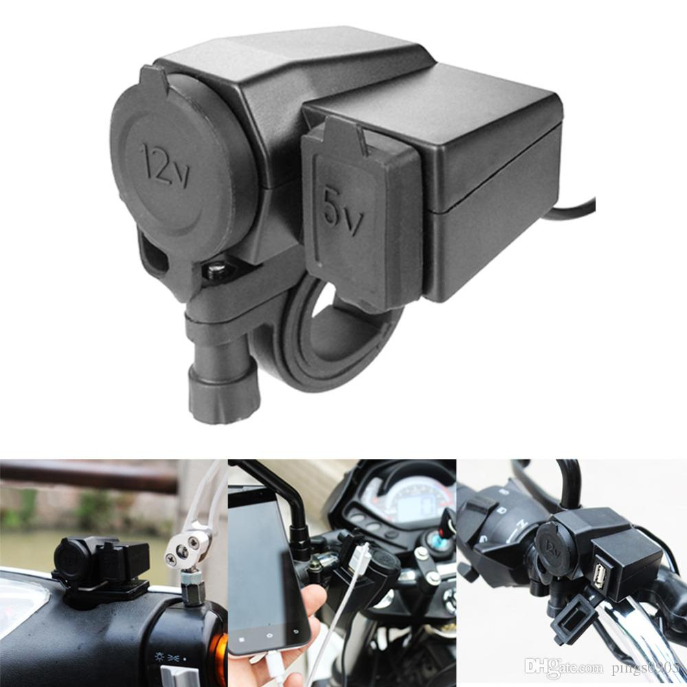 Waterproof Motorcycle Cigarette Lighter Adapter Dual 5V 1A USB Outlet Port Charger for Tablet PC Cell Phone GPS for 12V/24V Moto