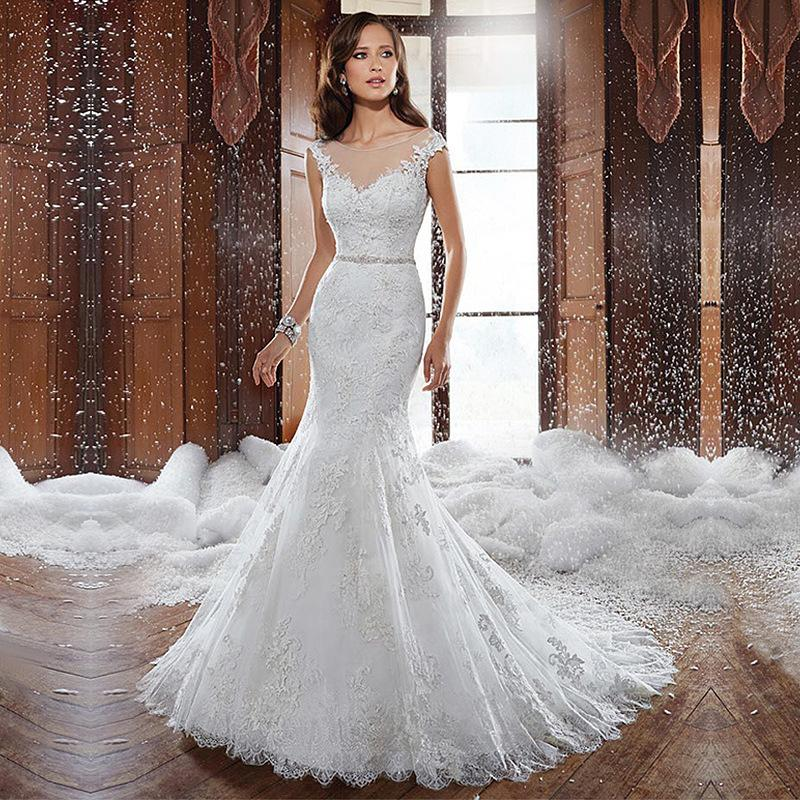 Fishtail Wedding Gowns: Summer Lace Backless Fishtail Wedding Dress Trailing
