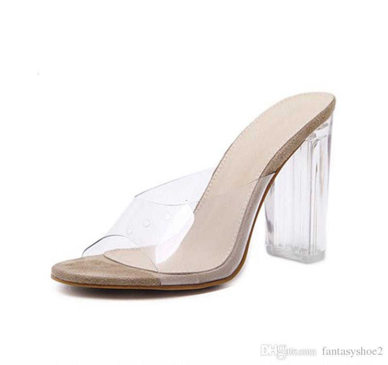 c5713c54310 New PVC Transparent Crystal Heel Slides Sexy Clear High Heels Slip On  Slingback Summer Slippers Women Shoes 11cm Size 35 40 Happy Feet Slippers  Grey Boots ...