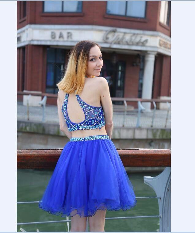 2018 Kısa Mezuniyet Elbiseleri Jewel Kristal Boncuklu İki Adet Seksi Kolsuz Kraliyet Mavi Tül A-line Ucuz Kokteyl Elbiseleri Parti