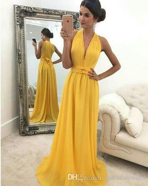 d28b7f952 Compre Halter Cuello En V Gasa Amarilla Vestidos De Dama De Honor Correas  Cintura Vestidos De Boda Largos Y Baratos Vestidos De Fiesta De Una Línea A  $119.6 ...