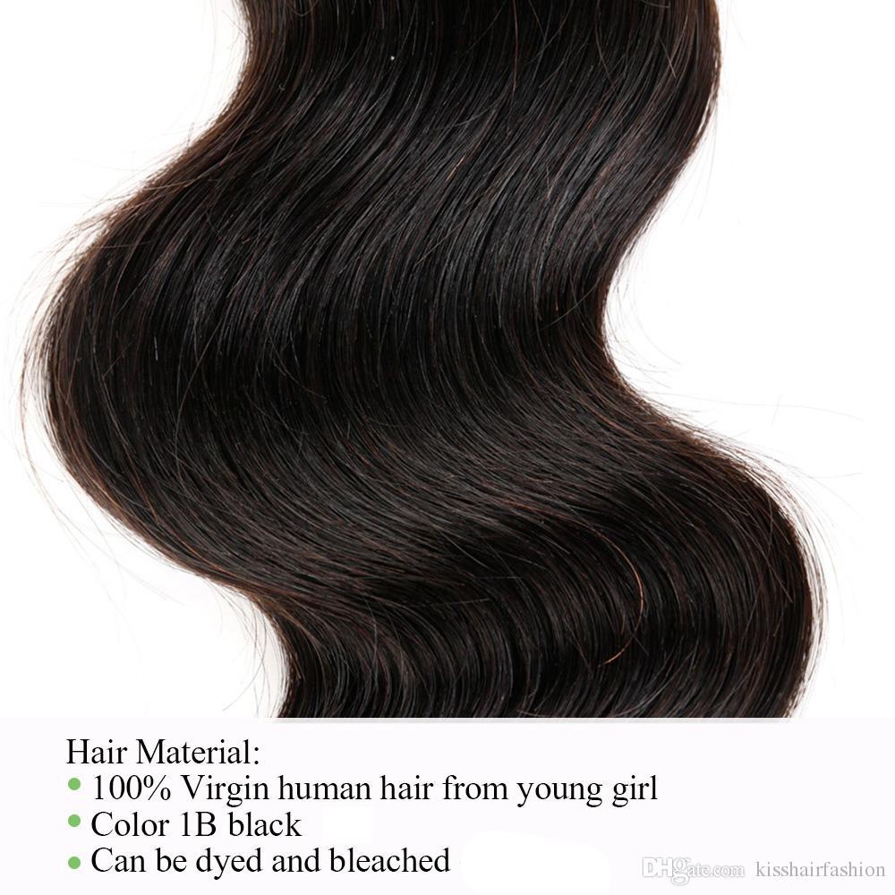 3 Bundles Body Wave Wave Cheveux Hair Weave Couleur 1B Black Virgin Indien Indien Malaisien Péruvien Péruvien Cambodge Chinois Chemin Hair Traps