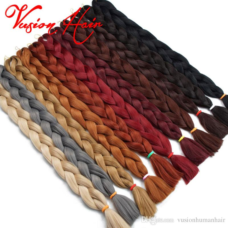 Sólido a granel color Xpression Hair Braiding ganchillo Trenzas 82 pulgadas 165g / pack Kanekalon Hair Braiding Jumbo sintético trenzado de cabello Extensiones