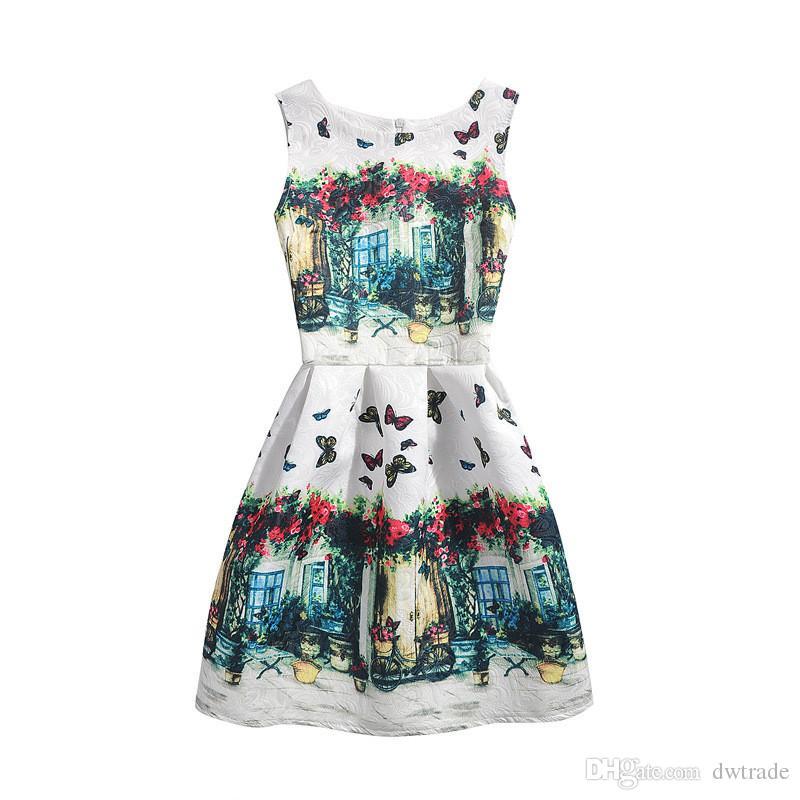 девушки официально платье Подростки Новой печати цветок бабочка платье без рукавов Пасхального праздника девушки костюм платья