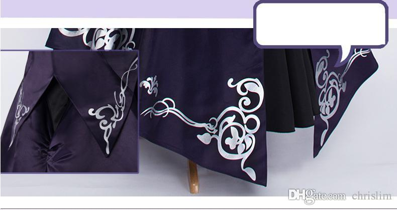 Japanese Anime Fate Stay Night Cosplay Saber Lily Costume / Alrtia Pendragon Costume Dark Purple Dress Top + Skirt +Bow +Arm Wrap+Coat