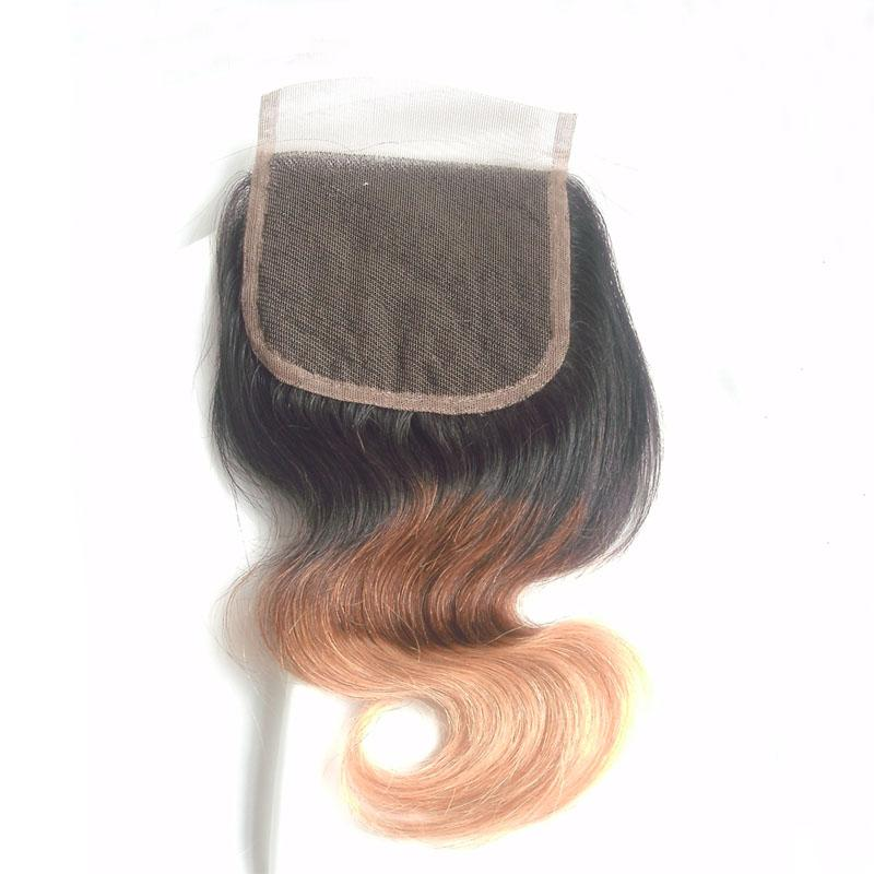 Ombre Human Hair Bundles With Lace Closure Three Tone Brazilian Body Wave Weaves With Top Closure T1b 4 27 Cheap Virgin Hair Extensions