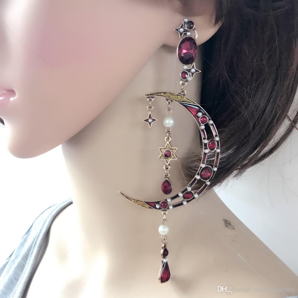 Livraison gratuite nouvelle jolie lune étoiles charme mode grande boucle d'oreille, émail chaud populaire perle mignon boucle d'oreille
