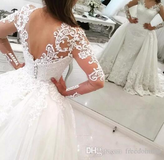 Fashionable 2017 Sheer Long Sleeves V-Neck Tulle Lace Appliques Wedding Dresses with Detachable Train Floor length Over Skirts Bridal Gowns