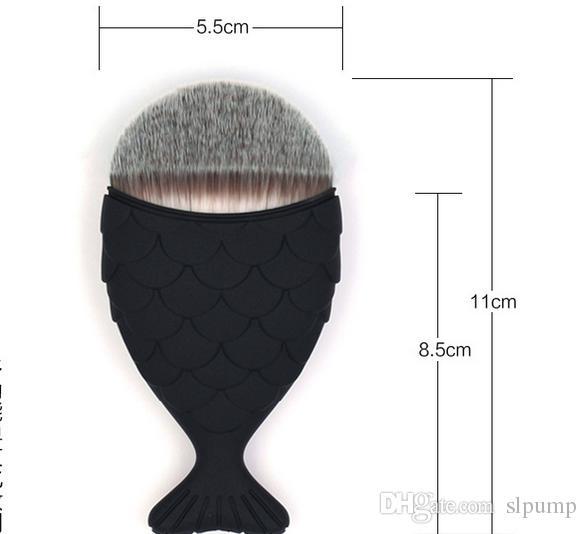 Cepillo de maquillaje ovalado sirena 11cm * 5.5cm Cepillo de base de sirena Cepillos de maquillaje de sirena oro Set Cosméticos de belleza Blush Powder es