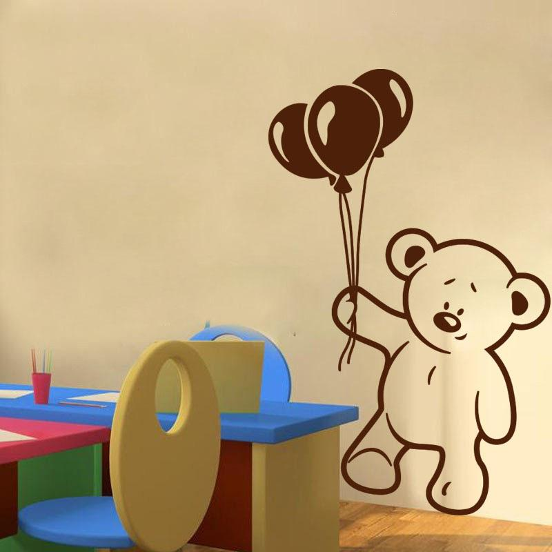 Cute Baby Bear And Balloon Wall Stickers For Kids Rooms Nursery Wall Decal Children Party Decoration