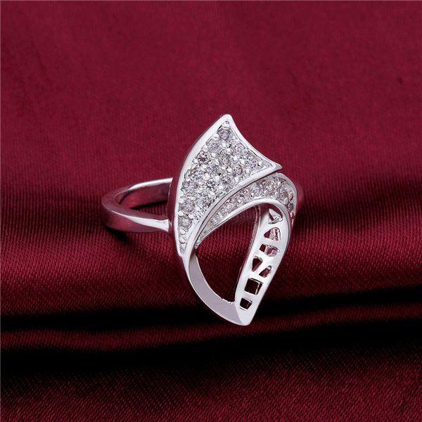 브랜드 새로운 성격 속틀레이 스털링 실버 쥬얼리 반지 SR505, 새로운 흰색 보석 925 실버 손가락 반지 결혼 반지