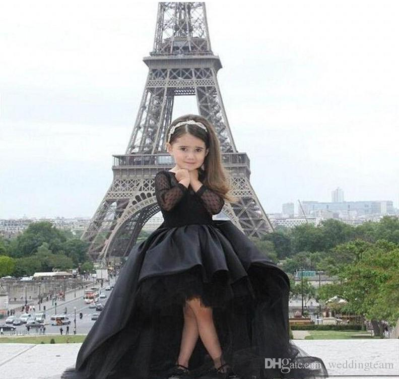 Lovely Black Tulle Pleat Cheap High Low Flower Girls Dresses Long Sleeve Jewel Neck Bow For Wedding Kids Ball Gown Pageant Dress