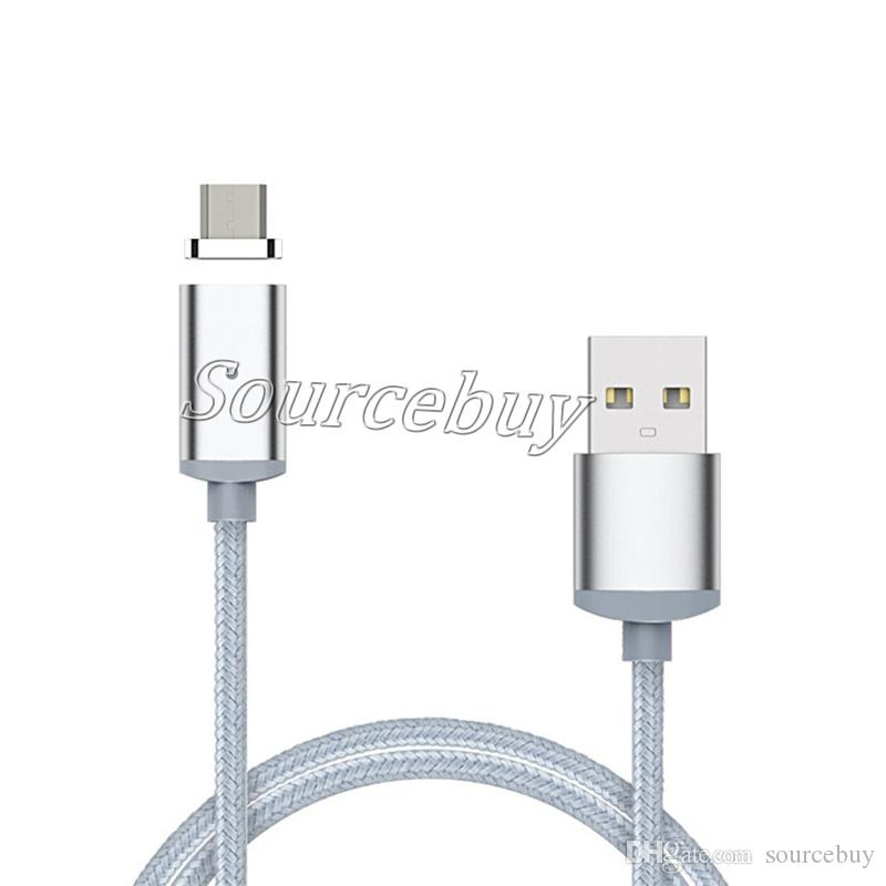 Magnetic Adapter Charger Cable Micro USB Magnet Cable Data Sync 1M Nylon Braid Data Line Cables For iphone Samsung Android Smart Phone