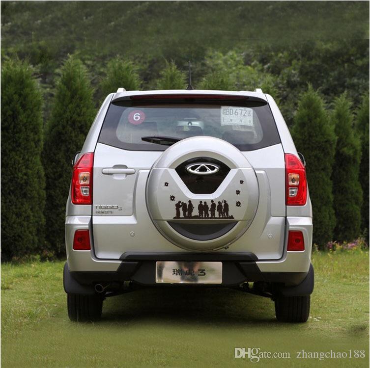Etiquetas engomadas del coche 48cm Solders Group Pattern Design Etiquetas engomadas del neumático de repuesto del coche Decoración de la rueda de repuesto Cubierta de la etiqueta engomada
