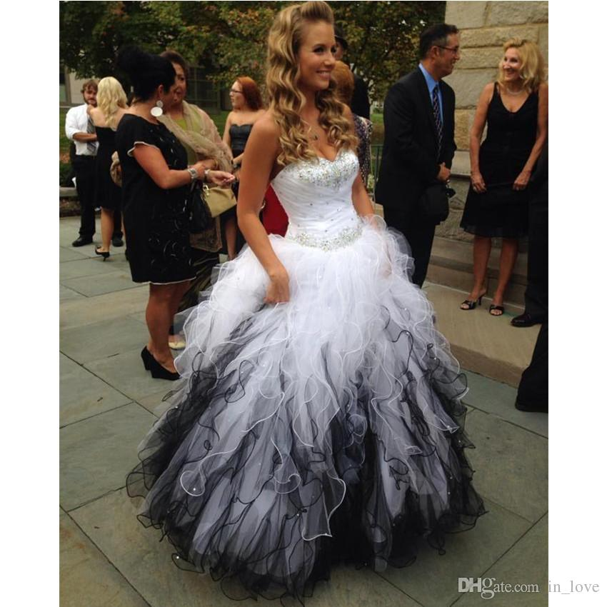 Ball Gown White And Black Wedding Dresses Strapless Diamonds Beads ...