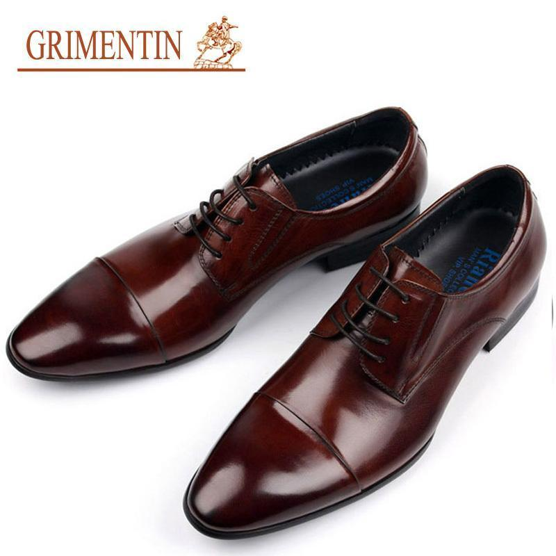 e7acbeb2fe3c4 2017 New Fashion Luxury Mens Dress Shoes Genuine Leather Italian Brown Cap  Toe Basic Flats Wedding Designer Shoes Men Size 6 11 Mens Boat Shoes Loafers  For ...