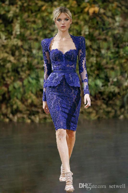 Charming Zuhair Murad Lace Applique Peplum Cocktail Dresses Sheath Sweetheart Long Sleeves Knee Length Evening Gowns Formal Prom Dress