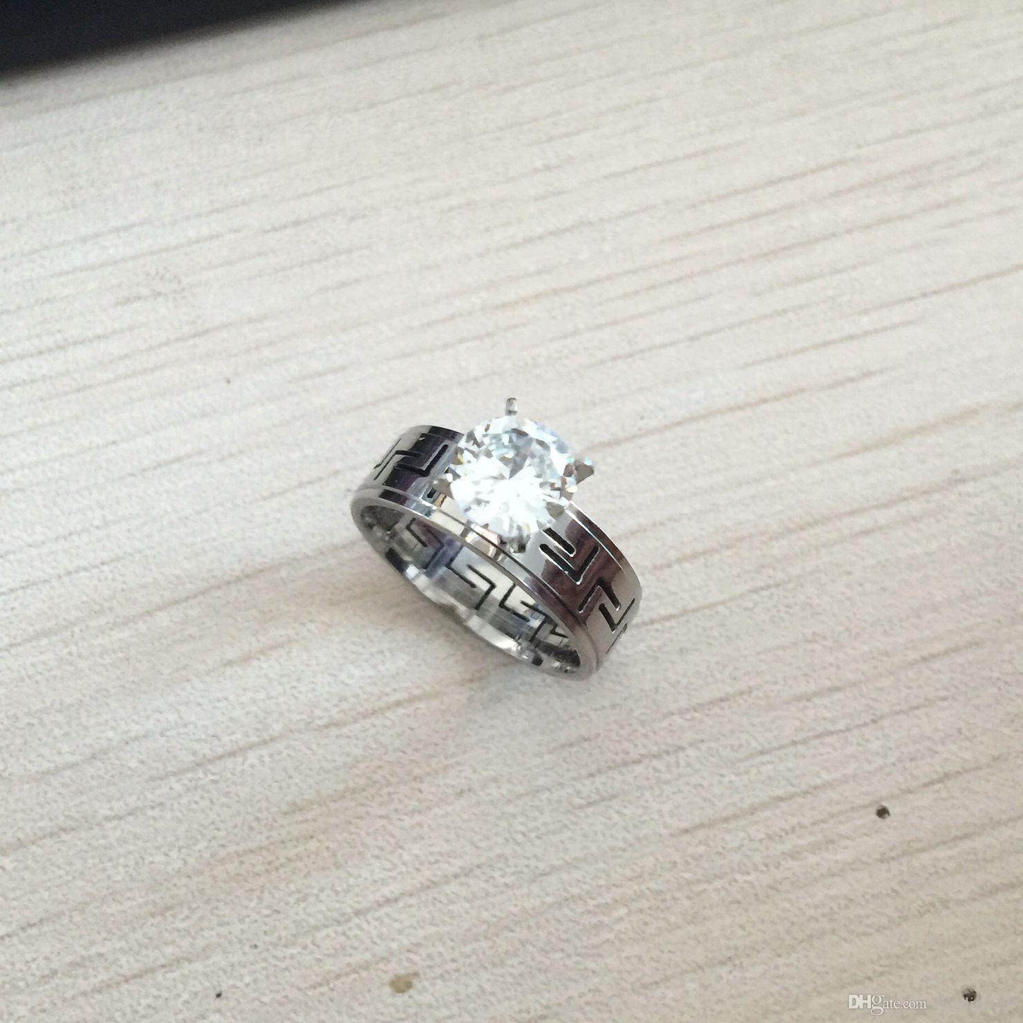 1.2 ct cz diamanti anelli le donne punk moda gioielli rilievi acciaio anelli di acciaio alla moda anello di lusso argento di lusso anello di colore spedizione gratuita