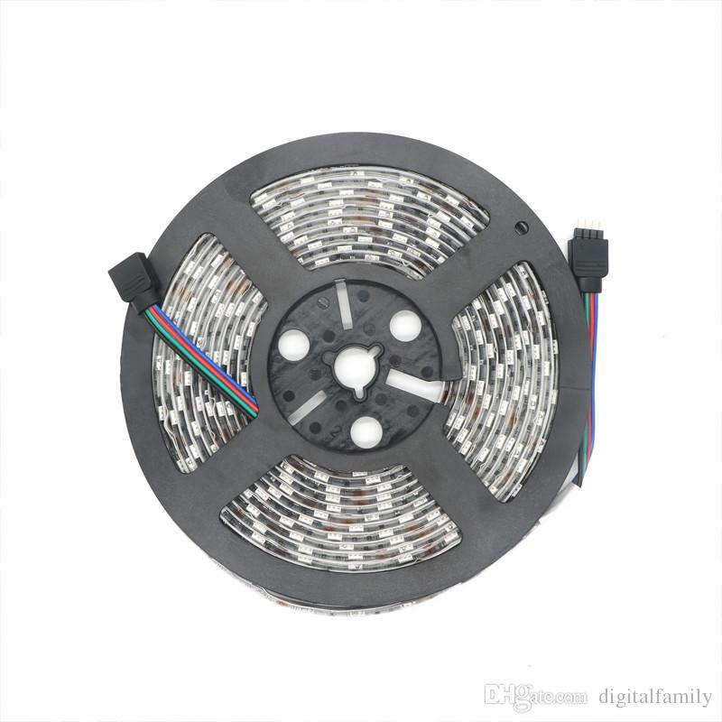 LED-strip RGB 5M SMD 5050 60LED / Meter Flexibel Waterdicht IP65 24Key IR-afstandsbediening LED-controller 5A Voeding US EU UK AU Plug voor Kerstmis